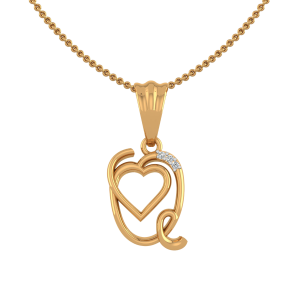 Letter Q Heart Diamond Pendant