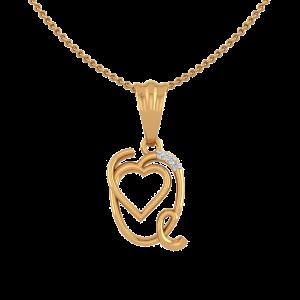 Letter Q Heart Diamond Pendant