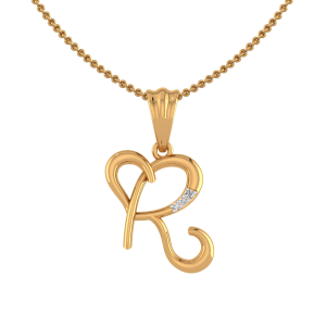 Alphabet R Heart Diamond Pendant