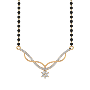 The Shooting Star Mangalsutra With Black Beads Gold Chain