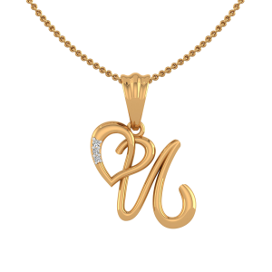 Letter U Heart Diamond Pendant