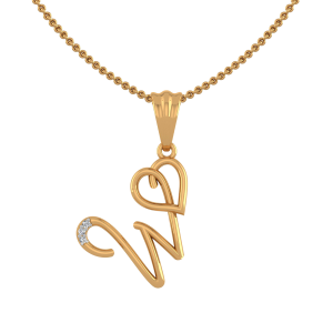 Letter W Heart Diamond Pendant