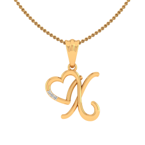 Letter X Heart Diamond Pendant