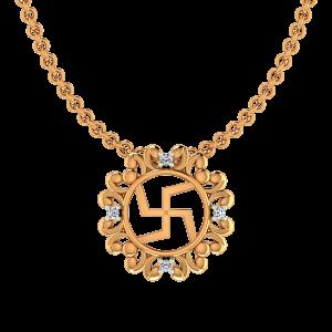 Auspicious Swastik Gold Diamond Pendant