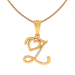 Letter Z Heart Diamond Pendant